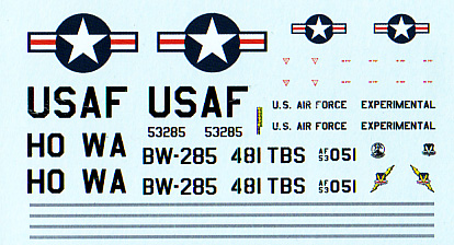 Convair XB-53 Model Kit Decals