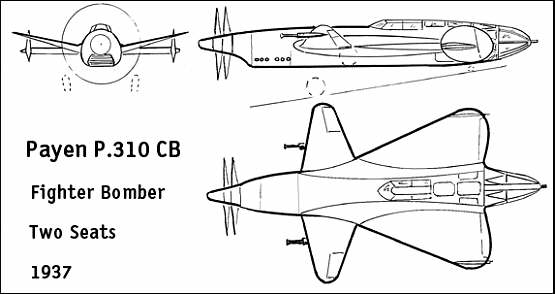 Payen P.310 Fighter-Bomber Plan View